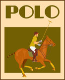 Polo player on horse poster Royalty Free Stock Photo