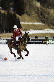 Polo player on ice field. This is a documentary image of a polo player during a famous public tournament in St. Moritz, Switzerland in february 2017 stock photo