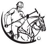 Polo player on a pony horse Royalty Free Stock Images