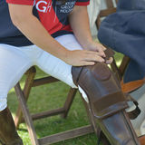 Polo player wearing the kneepad Stock Image