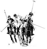 Polo players. Vector illustration of polo players (hand drawing royalty free illustration