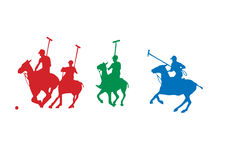 Polo players. 4 polo players silhouettes running for the ball vector illustration