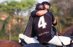 Polo players commemorating the triumph Stock Photography