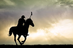 Polo players on horses. Illustration of polo players on horses Royalty Free Stock Photography