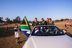 Polo Południowa Afryka graczów sponsor Samochodowy Shongweni Hillcrest obrazy stock