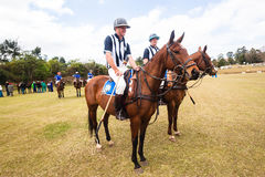 Polo Referees Players Horses. Polo game referees and  players group on field in afternoon game curtain raiser to Chile South-Africa game to public and officials Stock Image