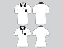 Polo shirt men and woman outline Stock Image