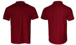 Polo Shirt Mock rosso scuro su Immagini Stock