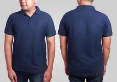 Polo Shirt Mockup Template azul marino Fotografía de archivo