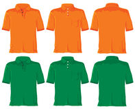 Polo shirt set. Orange & green Royalty Free Stock Images