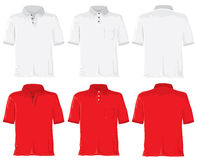 Polo shirt set. White & red