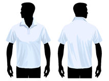 Polo shirt template. Men's polo shirt template with human body silhouette stock illustration