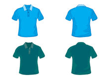 Polo shirt template. In blue and green  with front and back Stock Photos