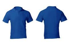 Polo Shirt Template azul en blanco de los hombres Imagen de archivo