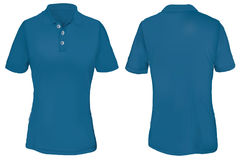Polo Shirt Template azul para la mujer Imagen de archivo libre de regalías