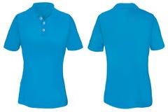 Polo Shirt Template azul para a mulher Foto de Stock