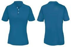 Polo Shirt Template azul para a mulher Imagem de Stock Royalty Free