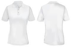 Polo Shirt Template bianco per la donna Immagine Stock