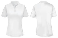 Polo Shirt Template branco para a mulher Imagem de Stock