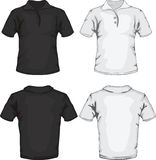 Polo shirt template design. Vector illustration of men's polo shirt template in black and white, front and back design Stock Photos