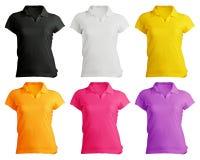 Polo Shirt Template en blanco de las mujeres Foto de archivo libre de regalías