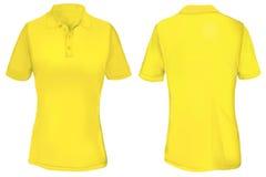 Polo Shirt Template giallo per la donna Immagine Stock