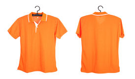 Polo shirt template on hange isolated on white background Royalty Free Stock Images