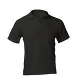 Polo Shirt Template negro en blanco de los hombres Imágenes de archivo libres de regalías