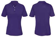 Polo Shirt Template púrpura para la mujer Imágenes de archivo libres de regalías