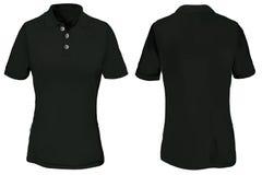 Polo Shirt Template preto para a mulher Fotografia de Stock