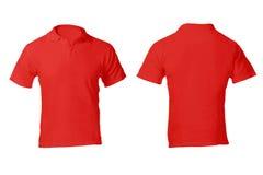 Polo Shirt Template rojo en blanco de los hombres Foto de archivo libre de regalías