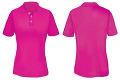 Polo Shirt Template rosa per la donna Fotografia Stock Libera da Diritti