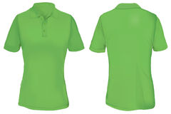 Polo Shirt Template verde para a mulher Imagens de Stock Royalty Free