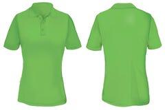 Polo Shirt Template verde per la donna Immagini Stock Libere da Diritti