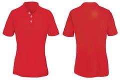 Polo Shirt Template vermelho para a mulher Foto de Stock