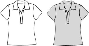 Polo Shirts. White and grey polo shirts. Vector illustration against white background Stock Photo