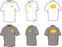 Polo shirts. In 3 positions, white and grey, with logo position guide Royalty Free Stock Photo