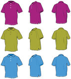 Polo shirts. Illustrated in 3 views and three colors Stock Photo