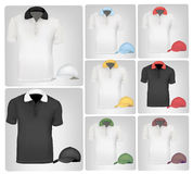 Polo shirts and caps. Stock Images