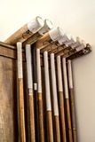Polo sticks or clubs at Argentinean countryside house. Royalty Free Stock Photo