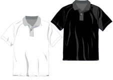 Polo T-shirt design template. In White and Black royalty free illustration