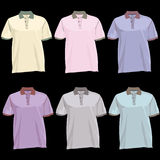 Polo t Shirt template with collar front and back Stock Images