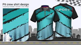 Polo t-shirt with zipper, Racing uniforms mockup template for Active wear and Sports clothing. Polo t-shirt with zipper, Racing uniforms mockup template for vector illustration