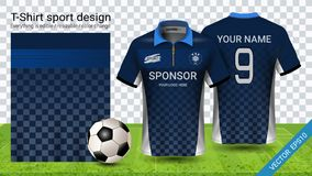 Polo t-shirt with zipper, Soccer jersey sport mockup template for football kit or activewear uniform vector illustration