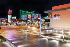 Polo Towers MGM Grand, Las Vegas. Polo Towers and MGM Grand Hotel and Casino, Las Vegas, with illuminated street and traffic Royalty Free Stock Image