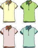 Polo tshirt. Four different colored polo shirt men T-shirt graphic design Stock Photos