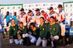 Polo usa Południowa Afryka graczów sponsoru prezentacja Shongweni Hillcrest Fotografia Stock