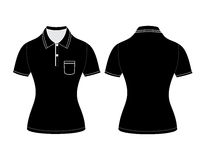 Polo woman shirt design templates (front and back views). Vector illustration Royalty Free Stock Image