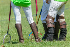 Polocrosse Players Closeup Boots Rackets Royalty Free Stock Photo