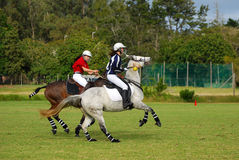 Polocrosse players on their horses Stock Photos